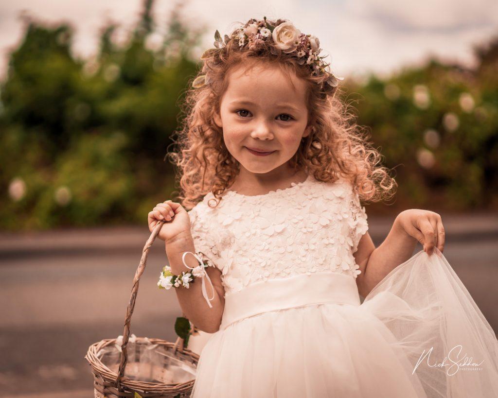 Bridesmaid with posy wedding bolton